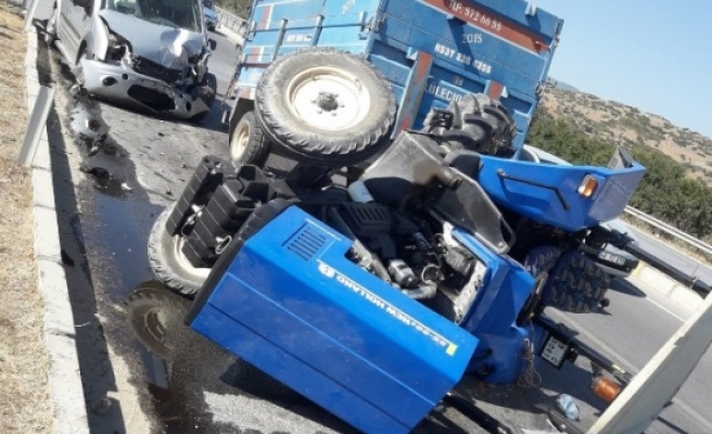 Çine'de traktör ticari araçla çarpıştı, 1 kişi yaralandı