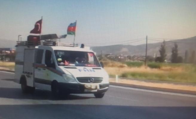 Azerbaycan'dan yangınlara destek araç konvoyu Çine'ye ulaştı
