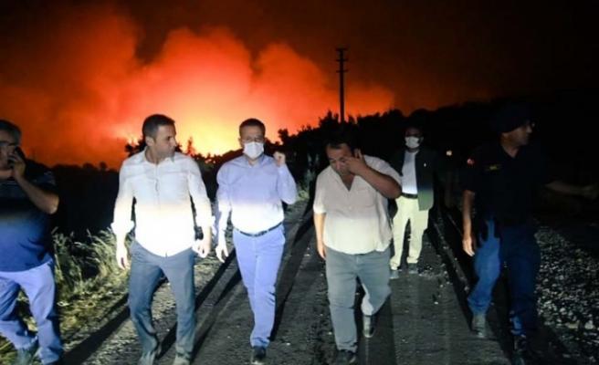 Vali Aksoy, Bozdoğan bölgesi yangınında incelemelerde bulundu
