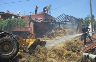 Çine'de bine yakın saman balyası yandı